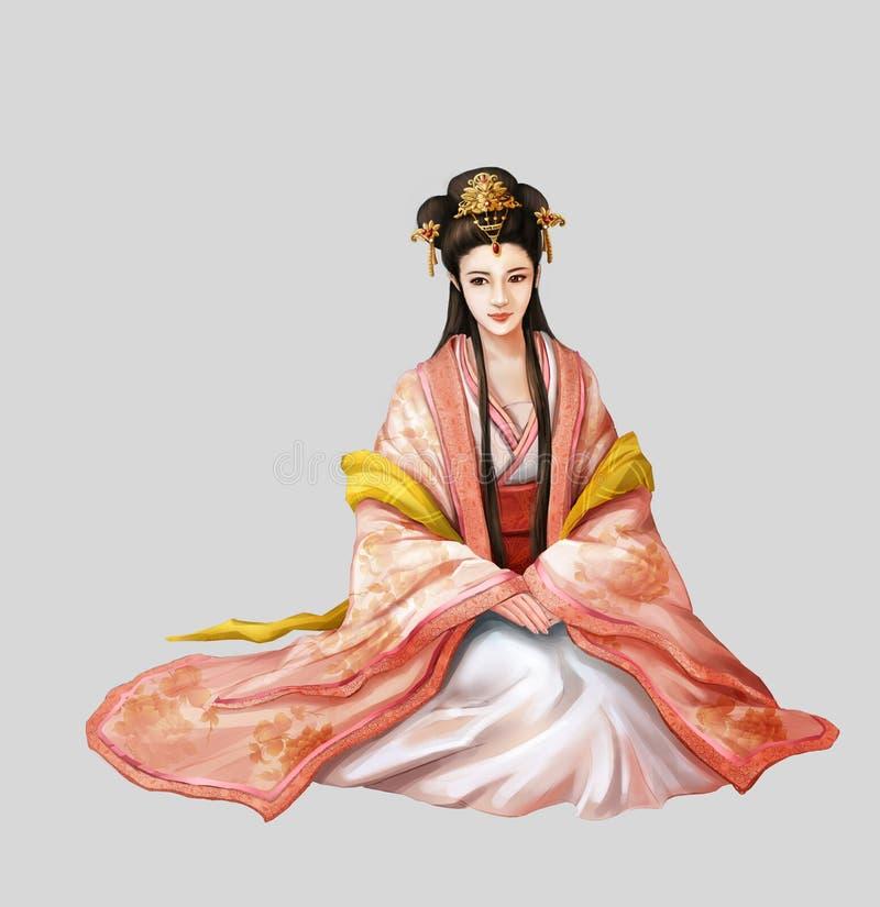Pueblo chino antiguo de las ilustraciones: Mujer hermosa, princesa, belleza libre illustration