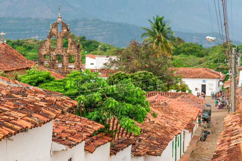 Pueblo colonial de Guane en Santander - Colombia fotografía de archivo