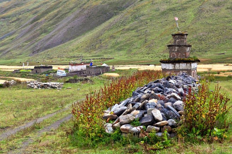 Pueblo de Dho Tarap, Dolpo, Nepal fotografía de archivo libre de regalías