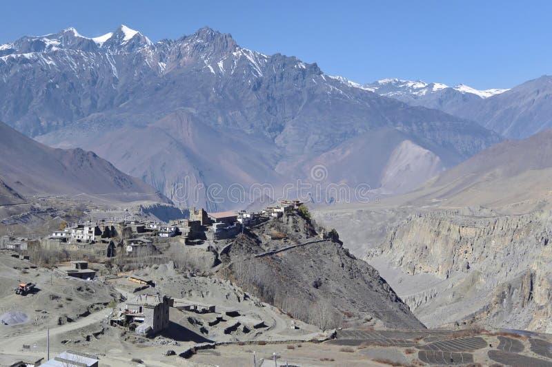 Pueblo de Jarkot en el distrito del mustango, área de la protección de Annapurna, Nepal imágenes de archivo libres de regalías