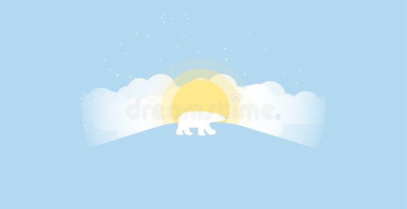 Pueblo de la ciudad del paisaje del campo de la nieve del invierno con el sol ligero Copie el espacio por Feliz Año Nuevo y Feliz stock de ilustración