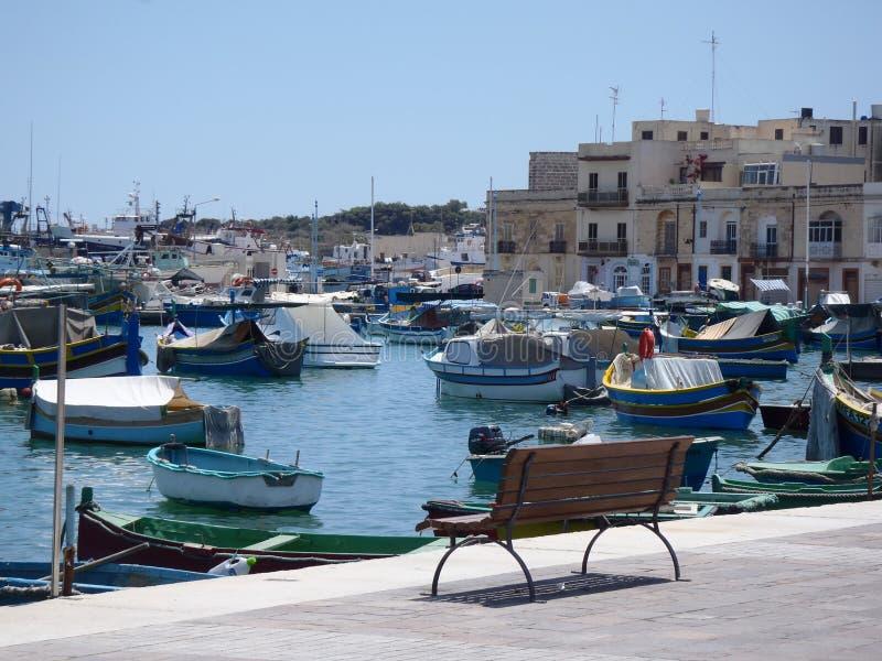 Pueblo de los fishermans de Malta foto de archivo