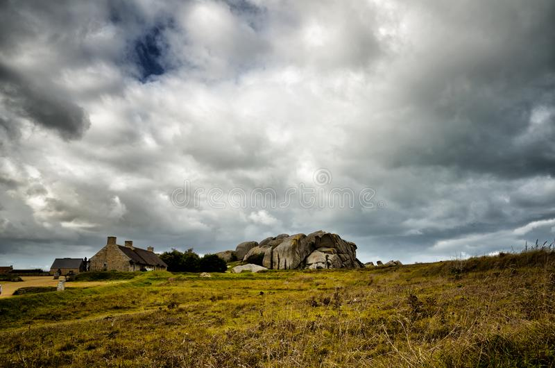 Pueblo de Meneham, Kerlouan, Finistere, Brittany Bretagne, Francia fotografía de archivo