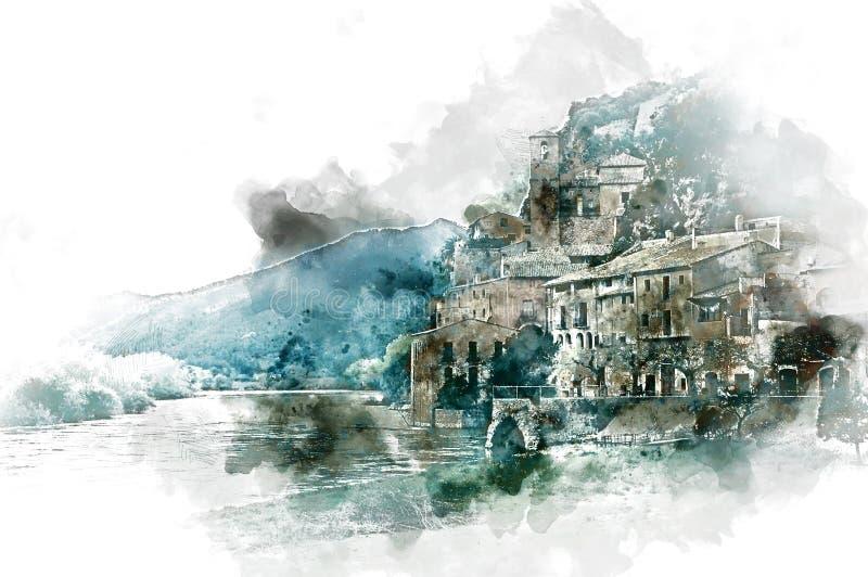 Pueblo de Miravet stock de ilustración