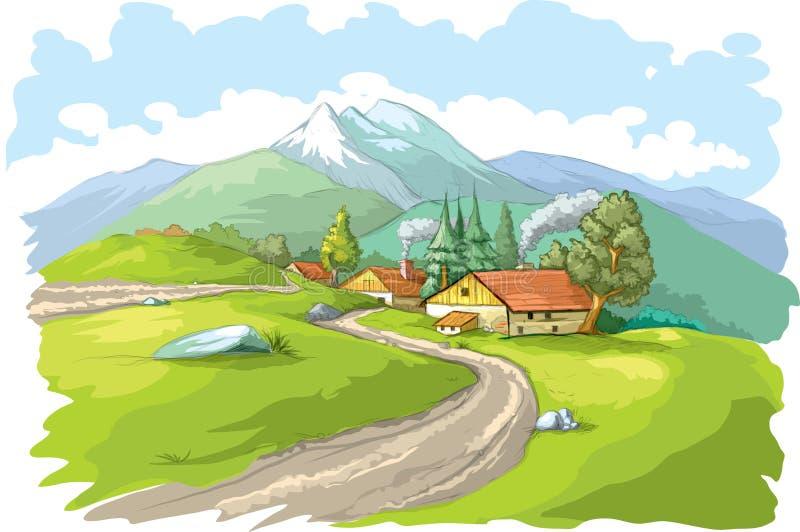 Pueblo de montaña ilustración del vector