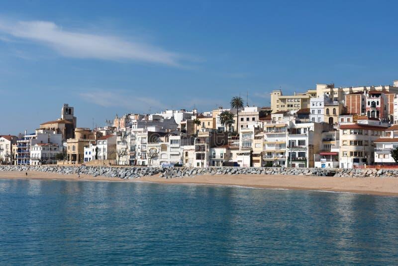 Pueblo de Sant Pol de Mar en la provincia de Barcelona, Cataluña, balneario imagenes de archivo