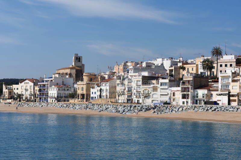 Pueblo de Sant Pol de Mar en la provincia de Barcelona, Cataluña, balneario foto de archivo libre de regalías