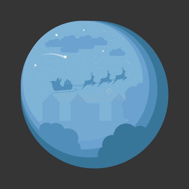 Pueblo de Santa Sleigh Flying Over Night Diseño de la escena de la noche de la Navidad para la tarjeta, invitaciones, Fyler ilustración del vector
