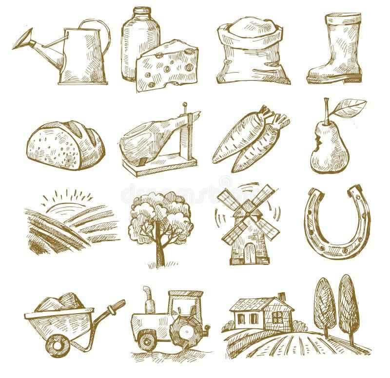 Pueblo del drenaje de la mano stock de ilustración