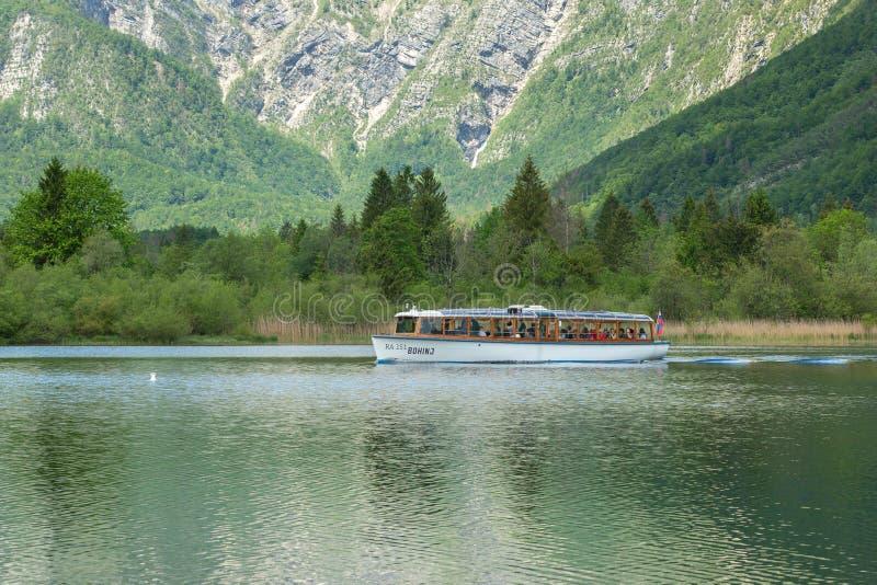 Pueblo del lago Bohinj y de Ukanc en el parque nacional de Triglav, Eslovenia fotografía de archivo libre de regalías