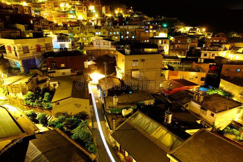 Pueblo del pantano de Chiu en la noche, en Taiwán imagen de archivo libre de regalías