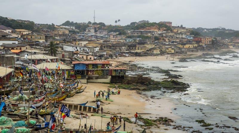 Pueblo del pescador en Ghana imagen de archivo libre de regalías