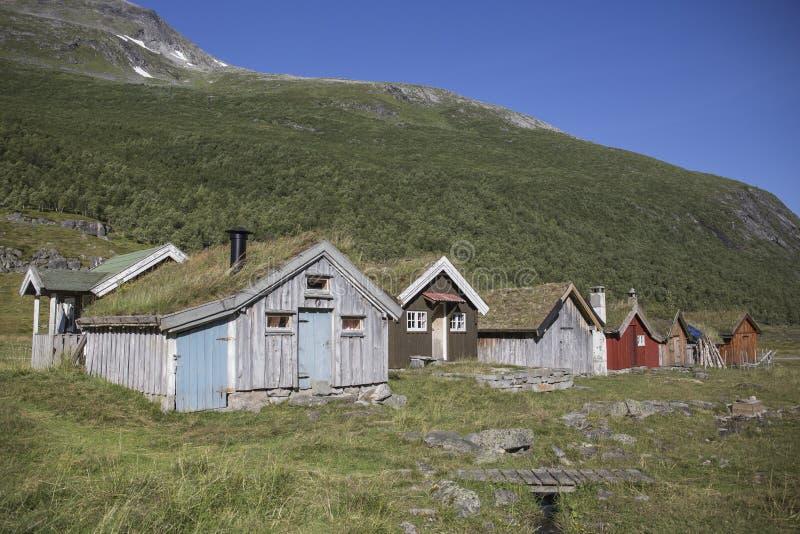 Pueblo en la montaña, la granja de Herdal, Noruega fotos de archivo libres de regalías