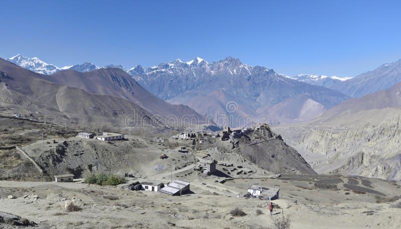 Pueblo en Nepal del norte, área de Annapurna fotos de archivo libres de regalías