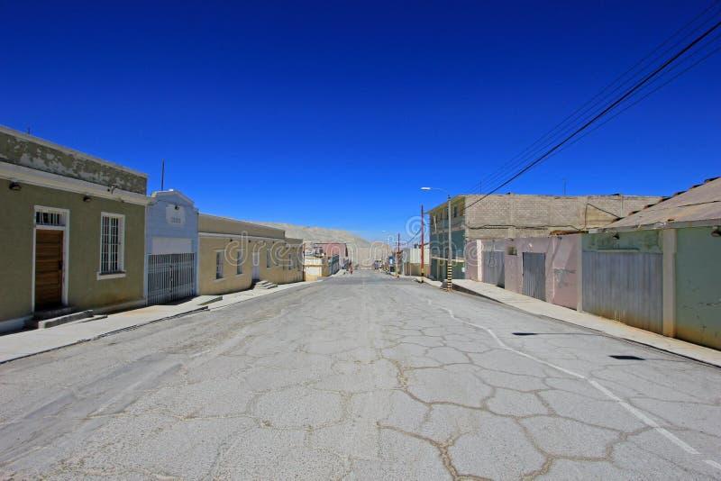 Pueblo fantasma Chuquicamata, Chile fotos de archivo libres de regalías