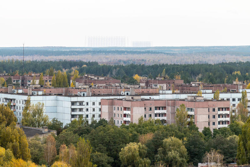 Pueblo fantasma de Pripyat en la Ucrania foto de archivo