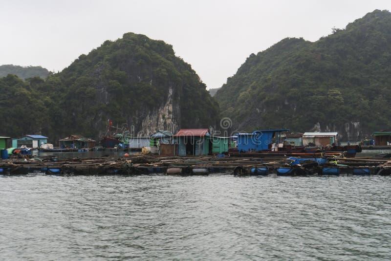 Pueblo flotante de Kuah pálido en la bahía de Halong en Vietnam Casas en el agua Costa rocosa fotografía de archivo