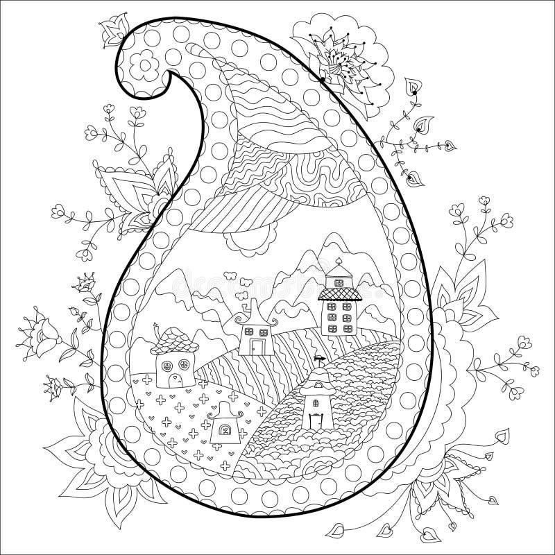 Pueblo Hermoso Con Diseño Floral Tensión Anti Del Libro De Colorear ...
