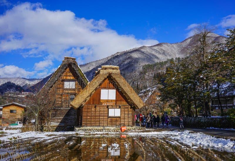 Pueblo histórico de Shirakawago en Gifu, Japón fotografía de archivo