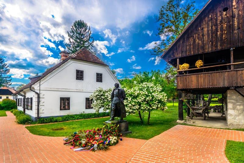 Pueblo histórico Kumrovec en Croacia imagen de archivo