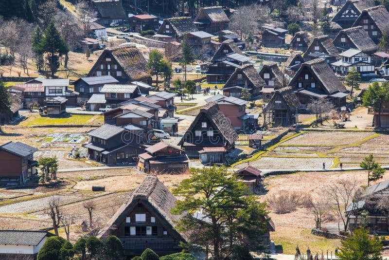 Pueblo japonés tradicional e histórico Shirakawago foto de archivo libre de regalías