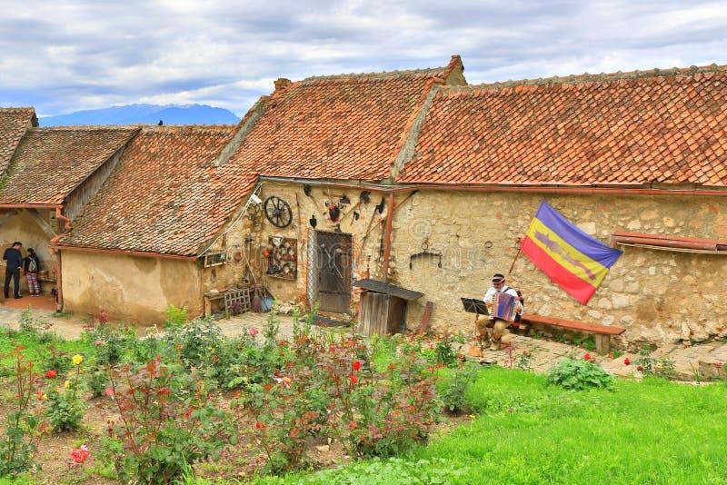 Pueblo medieval Transilvania Rumania de la ciudadela de Rasnov foto de archivo