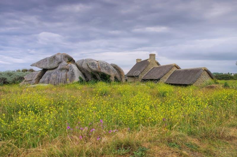 Pueblo Meneham en Finistere en Bretaña fotografía de archivo