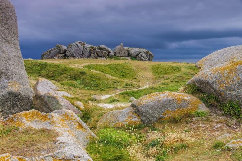 Pueblo Meneham en Finistere en Bretaña imagen de archivo