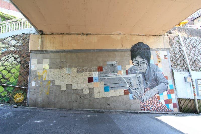 Pueblo mural de Ihwa en Seul fotografía de archivo