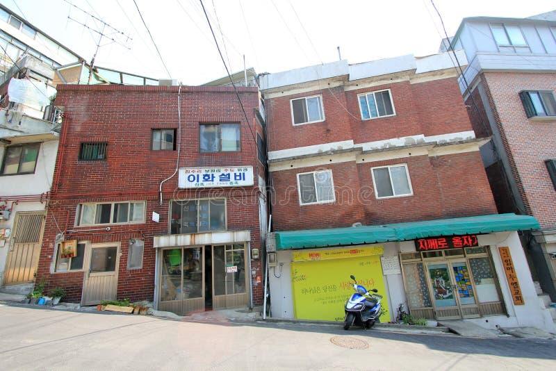 Pueblo mural de Ihwa en Seul imagenes de archivo