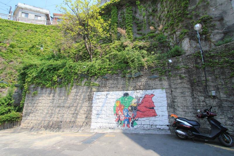 Pueblo mural de Ihwa en Seul imágenes de archivo libres de regalías