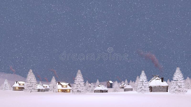 Pueblo nevado en la igualación de las nevadas libre illustration