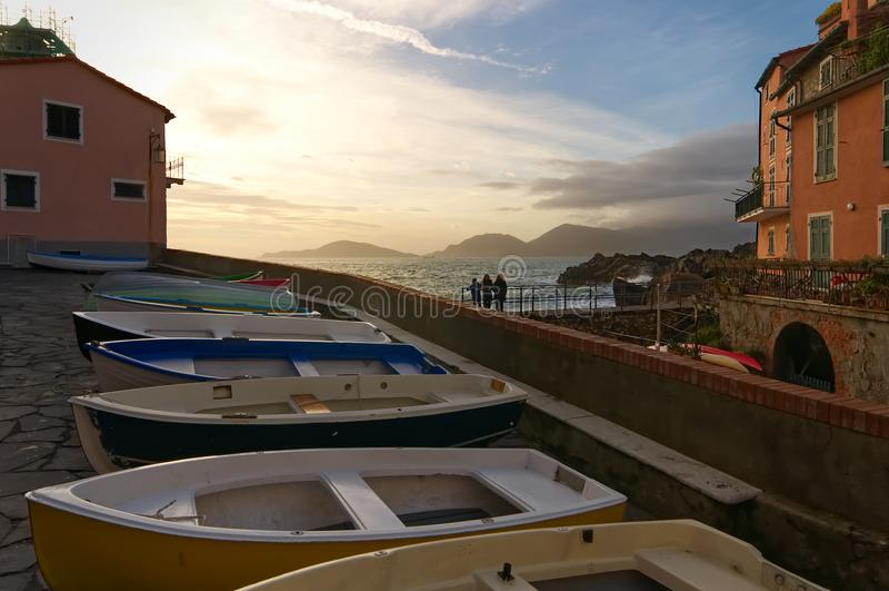 Pueblo pesquero - Tellaro - mar ligur - Italia fotografía de archivo libre de regalías