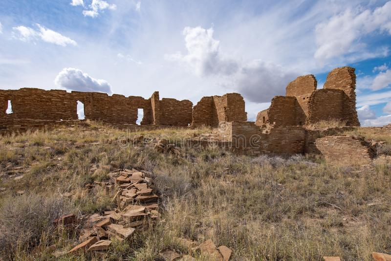 Pueblo Pintado, New Mexico. The ancient ruins of a Chaco outlier Pueblo Pintado `painted town`; perched on an impressive promontory overlooking the Chaco Wash 15 stock photo