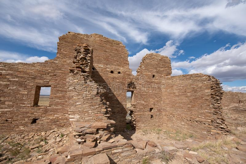 Pueblo Pintado, New Mexico. The ancient ruins of a Chaco outlier Pueblo Pintado `painted town`; perched on an impressive promontory overlooking the Chaco Wash 15 stock image