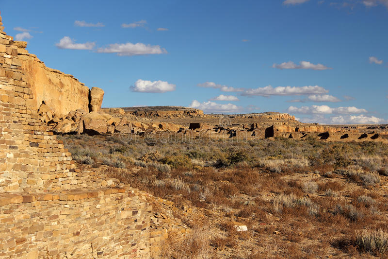 Pueblo Ruins. In Chaco Culture National Historical Park, New Mexico stock photos