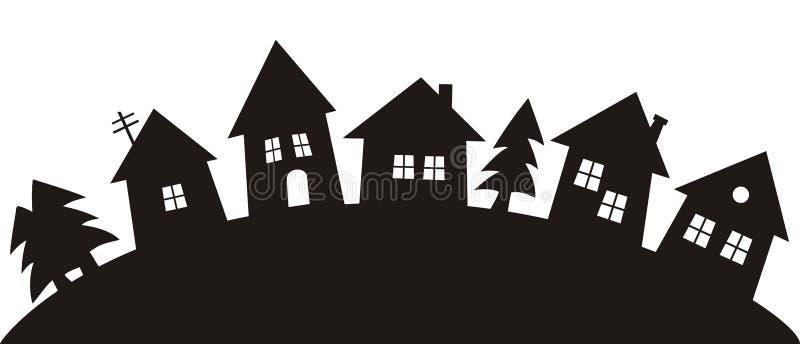 Pueblo, silueta negra ilustración del vector