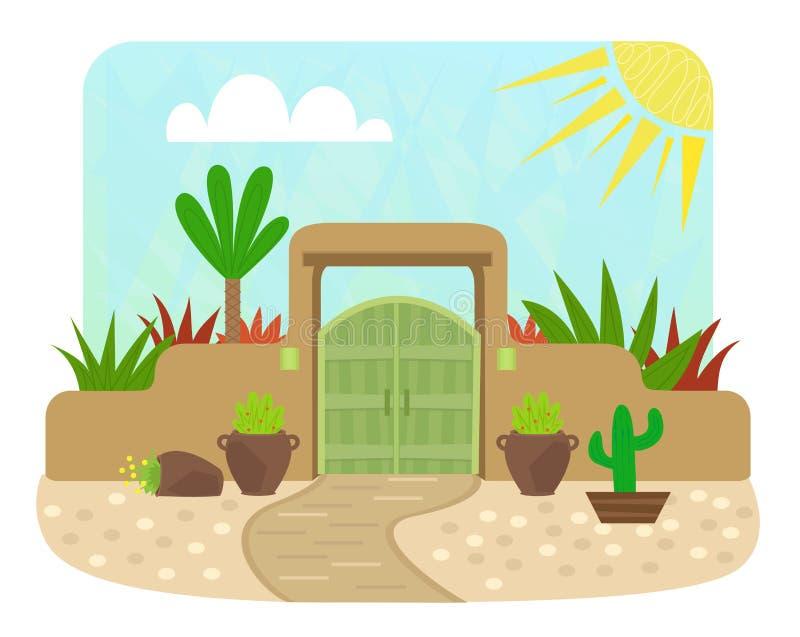 Pueblo Style Gate. Cartoon pueblo style gate with green door and plants. Eps10 vector illustration