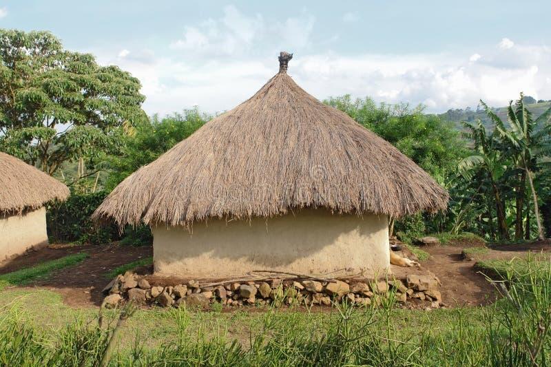 Pueblo tradicional cerca de las montañas de Rwenzori fotografía de archivo