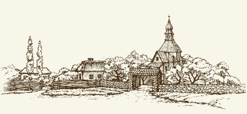 Pueblo ucraniano viejo Bosquejo del vector libre illustration