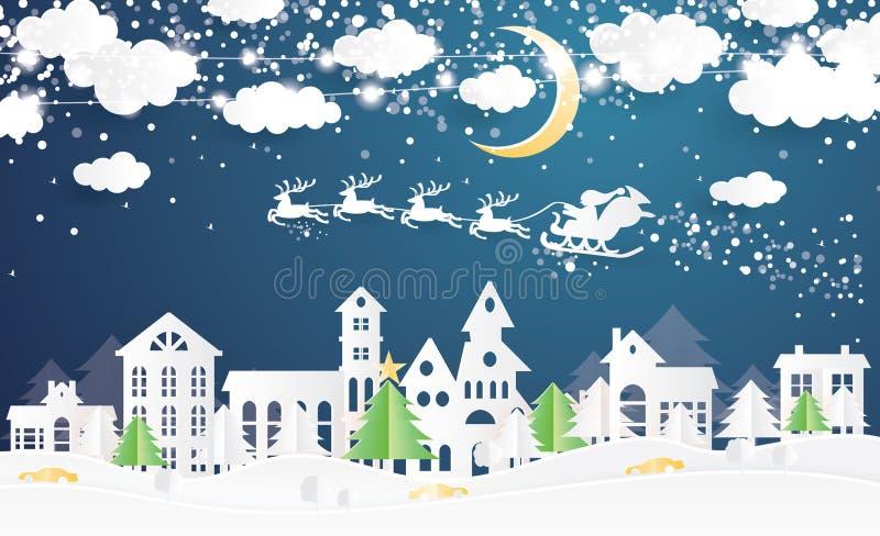 Pueblo y Santa Claus de la Navidad en trineo en el estilo cortado de papel stock de ilustración