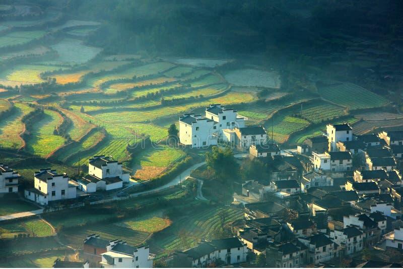 Pueblo y terraza chinos foto de archivo libre de regalías