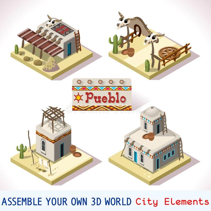 Pueblotegelplattor 01 fastställda isometriska stock illustrationer