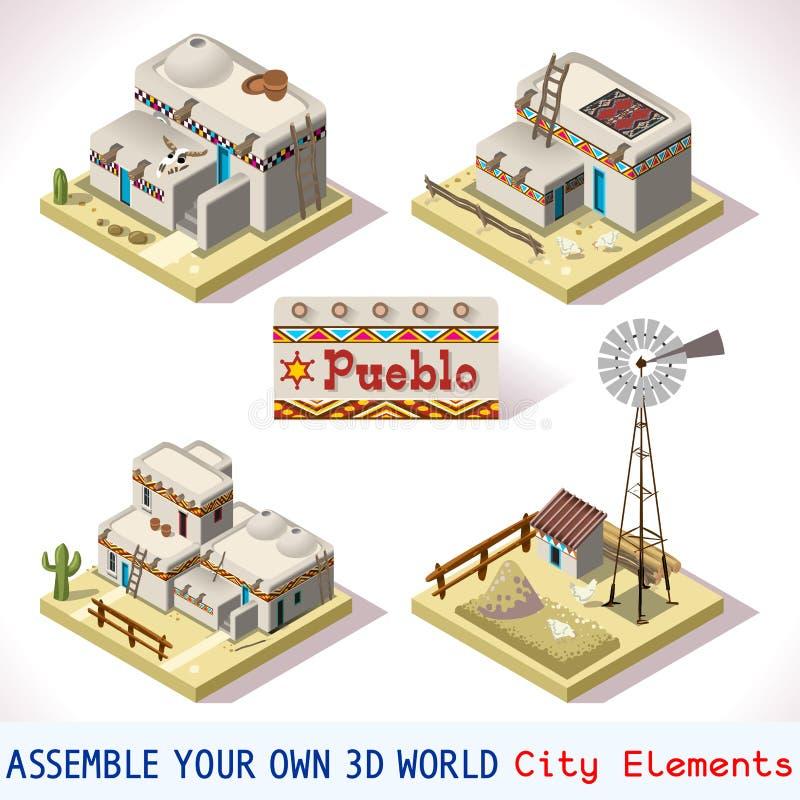 Pueblotegelplattor 03 fastställda isometriska royaltyfri illustrationer