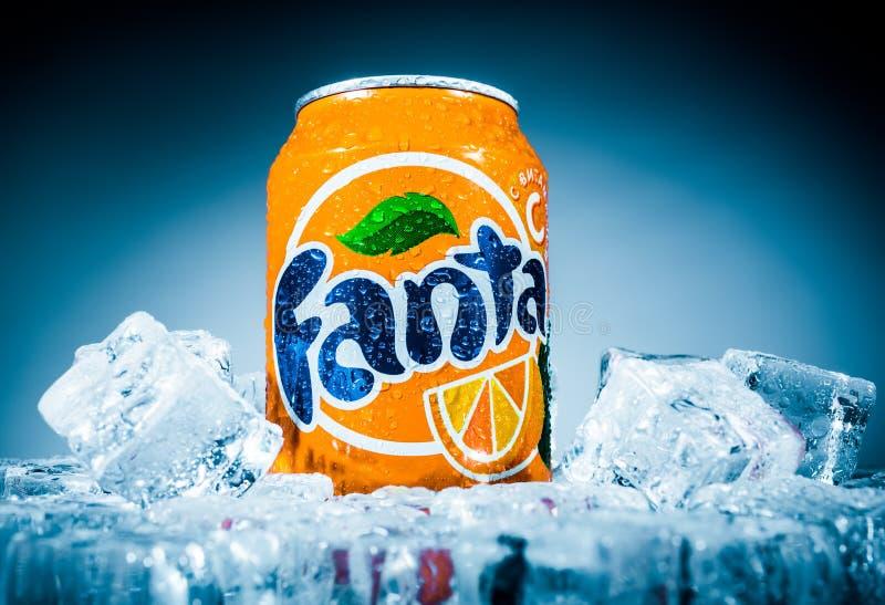 Pueda de Fanta Orange foto de archivo libre de regalías