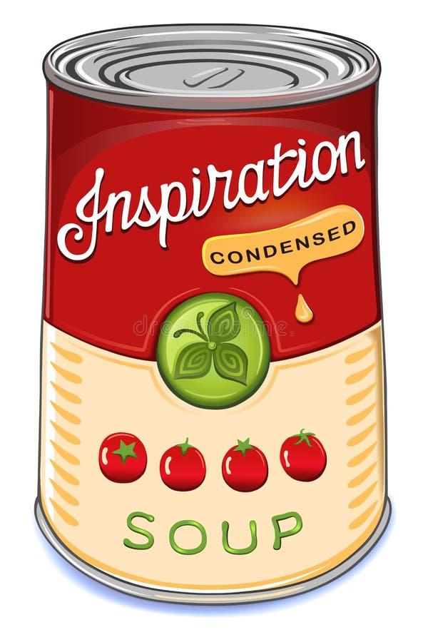 Pueda de la inspiración condensada de la sopa del tomate stock de ilustración