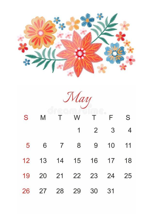 pueda Plantilla del calendario del vector por 2019 años con la composición hermosa de las flores del bordado stock de ilustración