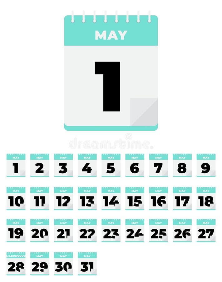 pueda Sistema del calendario diario del plano del vector icono stock de ilustración
