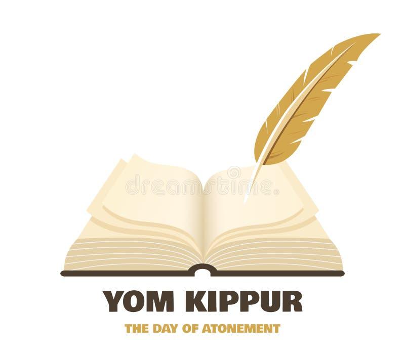 Puede usted estar inscrito en el libro de la vida para siempre en hebreo Libro antiguo un símbolo del día de fiesta judío Yom Kip ilustración del vector