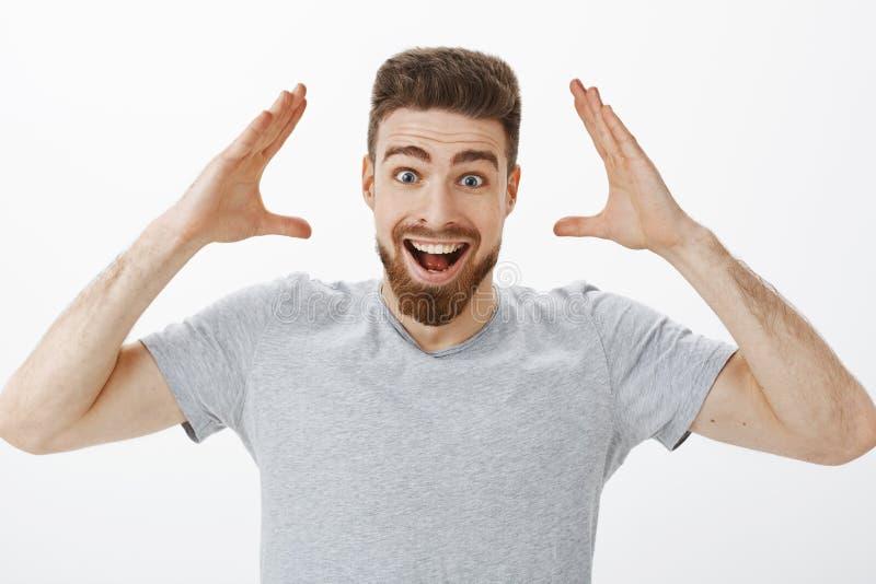 Puede usted imaginarse me consiguió trabajo Modelo masculino hermoso alegre y emocionado carismático con la barba en la camiseta  imagen de archivo libre de regalías